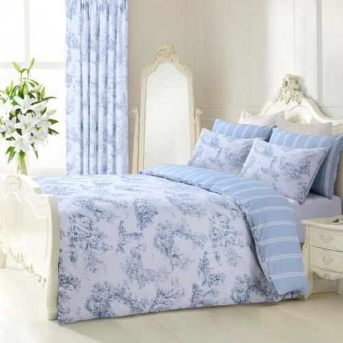 BLUE WHITE STYLISH TOILLE FRENCH FLORAL DESIGN REVERSIBLE BEDDING DUVET COVER SET
